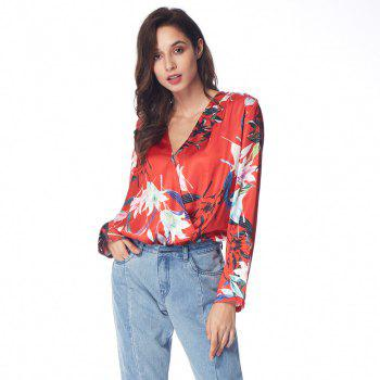 Floral Wrap Front Ruffle Loose Top - RED M