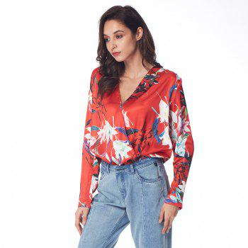 Floral Wrap Front Ruffle Loose Top - RED S
