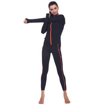 BELLEZIVA Winter Women Bright Color Hoodie Sport Suits 2 Piece Fitness Yoga Set Sportswear Training Running Tights Striped Gym Jogging Clothes - BLACK M