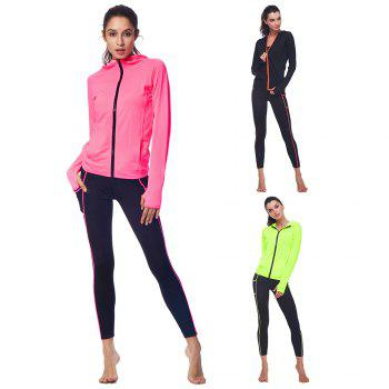 BELLEZIVA Winter Women Bright Color Hoodie Sport Suits 2 Piece Fitness Yoga Set Sportswear Training Running Tights Striped Gym Jogging Clothes - NEON GREEN XL