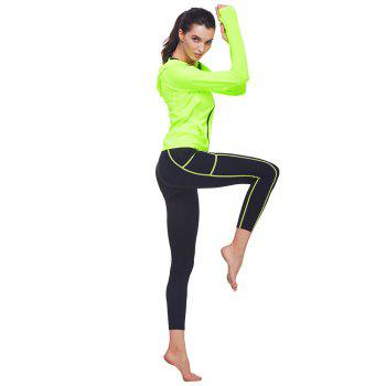 BELLEZIVA Winter Women Bright Color Hoodie Sport Suits 2 Piece Fitness Yoga Set Sportswear Training Running Tights Striped Gym Jogging Clothes - NEON GREEN M