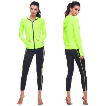 BELLEZIVA Winter Women Bright Color Hoodie Sport Suits 2 Piece Fitness Yoga Set Sportswear Training Running Tights Striped Gym Jogging Clothes - NEON GREEN S