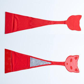 Invisible Panty Cat Pattern Self Adhesive C-String Strapless Panties - RED L