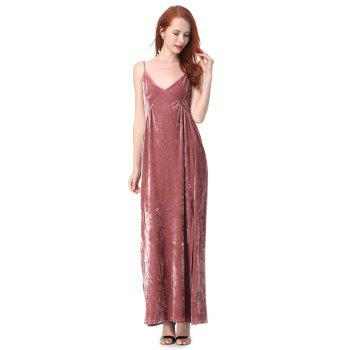 Pleated Long Camisole velvet Dress - PALE PINKISH GREY 2XL