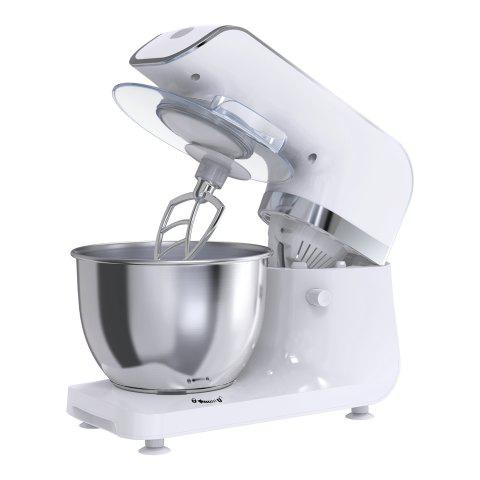 Mliter 800W Electric Food Stand Mixer with 4.0L Bowl, Dough Hook, Whisk, Dough Hook, Splash Guard, Digital Control Panel, 6-Speed, Time Setting, White - WHITE UK