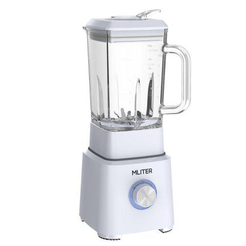 Mliter Multi-function BPA Free Glass Jug Blender, Juicer, Powerful Smoothie Maker, Nutri Extractor and Ice Crusher, 2 Speed With Pulse Function 1.6L Glass Jar and 6-Leaf Stainless Steel Blade, 800 Wat - WHITE EU