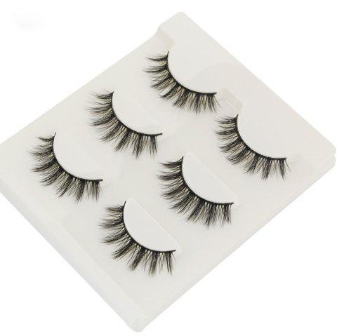 3Pair/Set 3D Mink False Eyelashes Handmade Black Thick Natural Long Fake Eye Lashes Extension Beauty Stage Smoked Make Up - Noir
