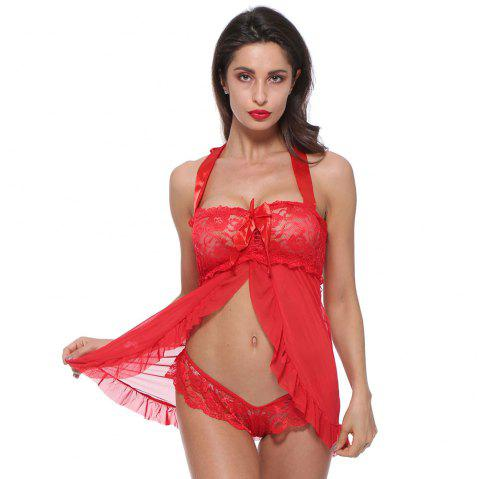 Lace  Sexy  Lingerie Halter For Women Two Piece Teddy Babydoll Badysuit - RED L