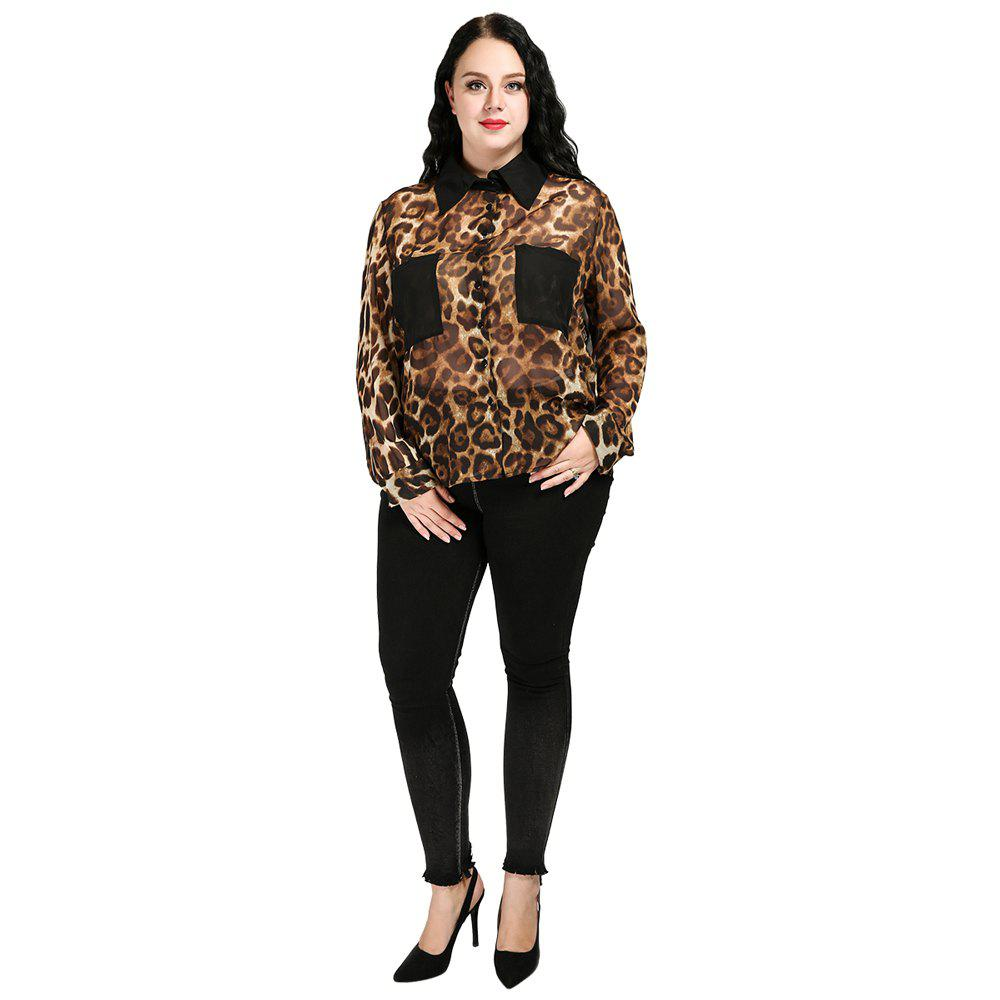 Plus Size Leopard Loose Chiffon Shirt - café 5XL