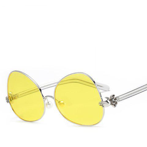 Oval Sunglasses Retro BlingBling Glasses Brand Designer Retro Vintage Sunglasses - YELLOW