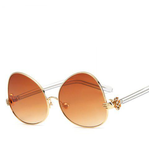Oval Sunglasses Retro BlingBling Glasses Brand Designer Retro Vintage Sunglasses - BROWN