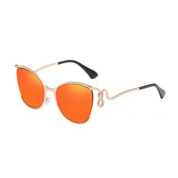 Women Oval Metal Sunglasses Women Fashion Glasses Brand Designer Retro Vintage Sunglasses - ORANGE