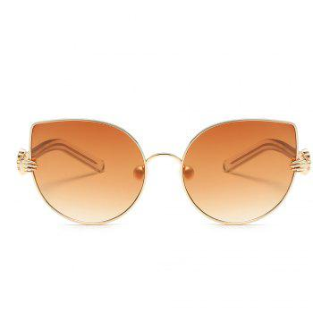 Pearl Oval Sunglasses Retro BlingBling Glasses Brand Designer Retro Vintage Sunglasses - ORANGE