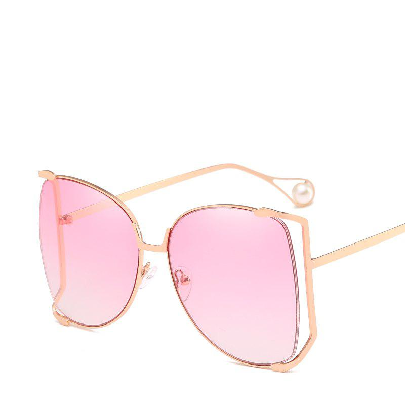 Women Oval Pearl Sunglasses Women Fashion Glasses Brand Designer Retro Vintage Sunglasses - ROSE