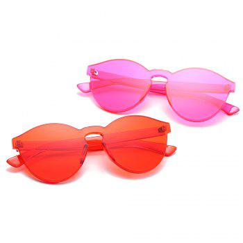 Cat Eye Frameless Sunglasses Retro Glasses Retro Vintage Sunglasses - RED