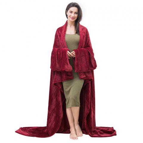 LANGRIA Microfibre Snuggle Blanket with Sleeves and Pocket, Soft and Fluffy Flannel Blanket TV Wearable Blanket for Adult Women Men Couch Sofa Bed, 170cm x 200cm, Claret-red - WINE RED