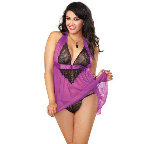Women Hot See-Through Lace Sexy Sleepsuit  PLUS Size Big Size Sleepsuit Grenadine Babydoll Lingeries Sleepdress - PURPLE 4XL