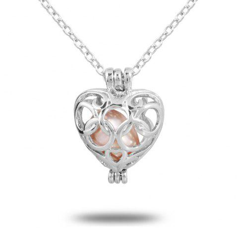 Women Stainless Steel Cube Pearl Necklace Charm Womens Beauty Jewelry Durable Necklace Gift - 008