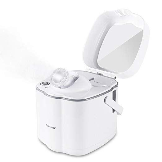 OVONNI Facial Steamer Hot Mist Moisturizing Unclogs Pores Clear Blackheads Suction Face Hydration Atomizer Salon Skin Care Sauna SPA Acne Humidifier Steamer with Makeup Mirror - MILK WHITE