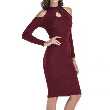 Women's Stand Collar Dew Shoulder Long Sleeved Bodycon Dress - RED WINE L