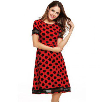 Women's Round Neck Short Sleeves See-through Lace Patchwork Dot Printing Dress - RED S