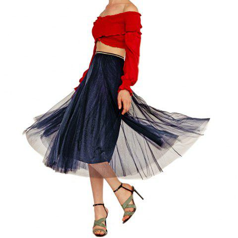 Womens Elegant Combo Color Waistband Pleats Skirt - NAVY BLUE L