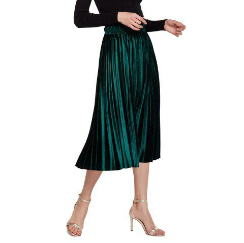 Womens Velvet Sunray Pleats A Line Elegant Skirt - DEEP GREEN XL