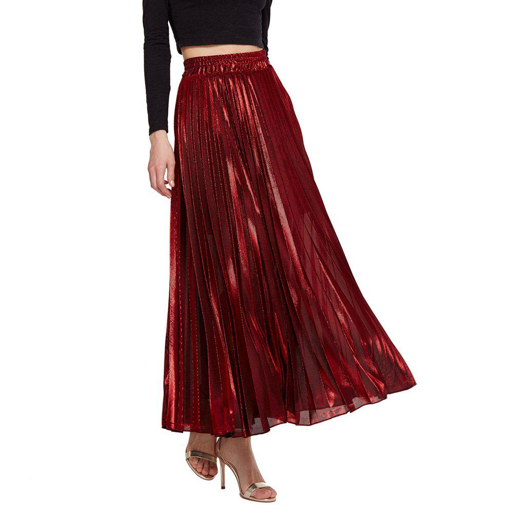 Womens Lurex Sunray Pleats A Line Skirt - RED M