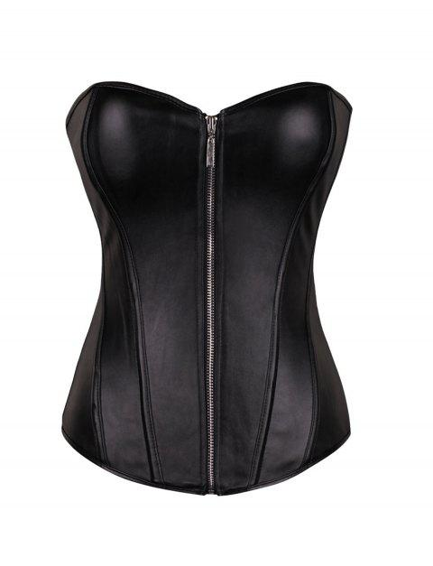 Women sexy zipper  corselet Overbust Corset - BLACK L