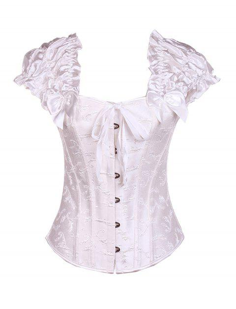 Women sexy Steel ribs Bodyshaper Top waistcoat Corset - WHITE S