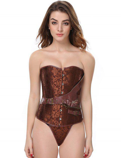 Women's Steampunk Steel Bone glue Corset Bustier PU Leather - DEEP BROWN 2XL