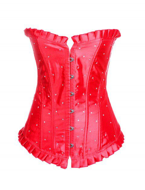 Women Wave point print Hallowmas Corset Skirt Bodyshaper Top - RED XL