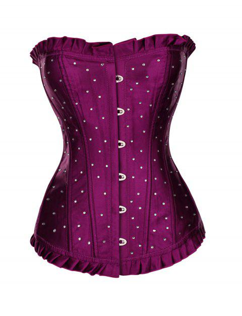 Women Wave point print Hallowmas Corset Skirt Bodyshaper Top - DULL PURPLE L
