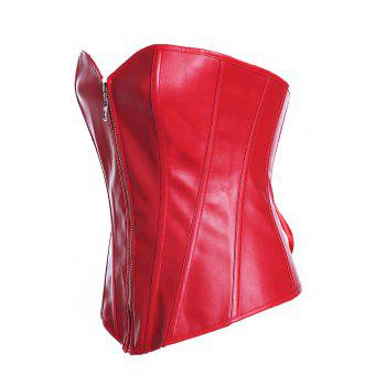 Women sexy zipper  corselet Overbust Corset - RED L