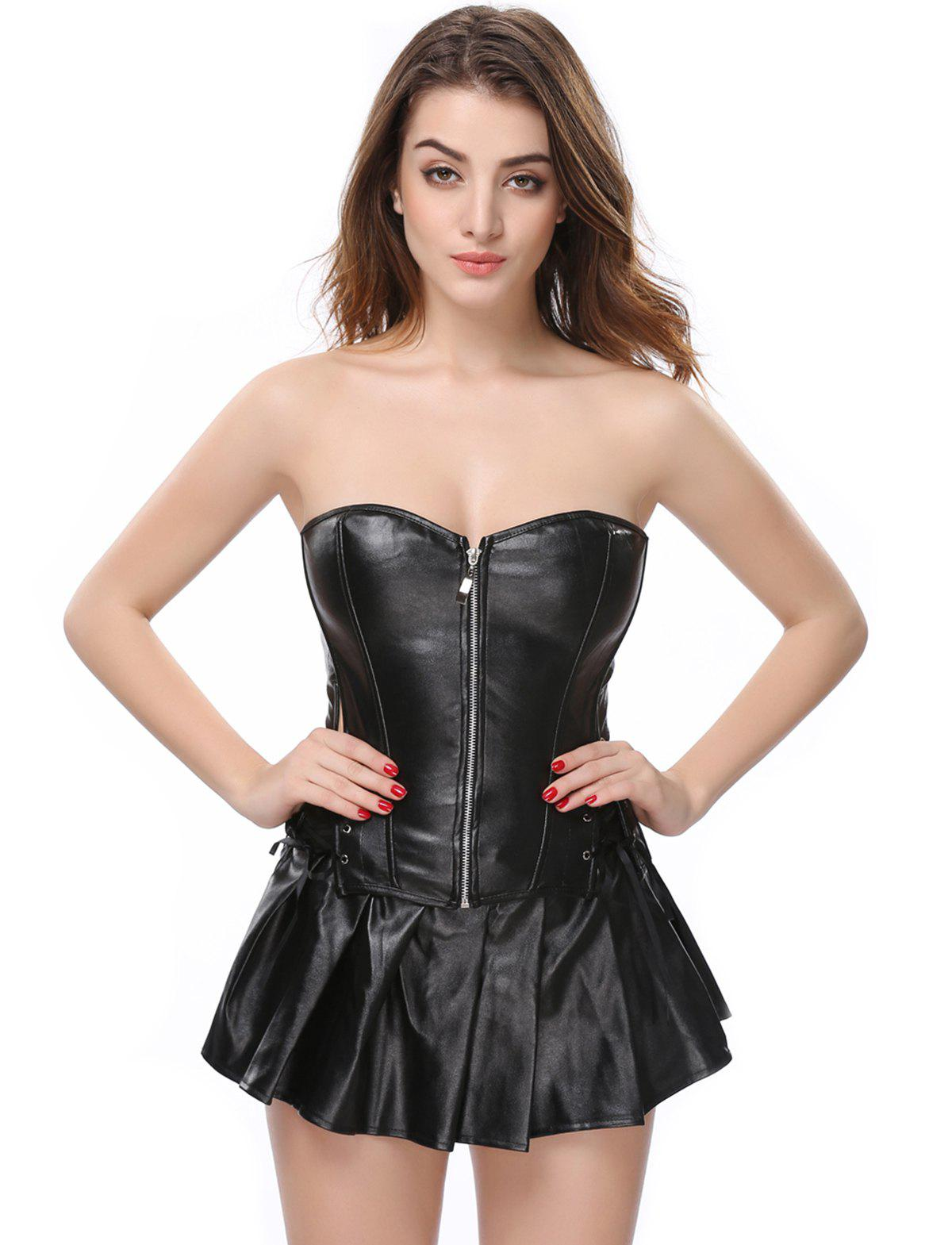 Women PU Punk Corset abdomen in gather Corset Skirt - BLACK S