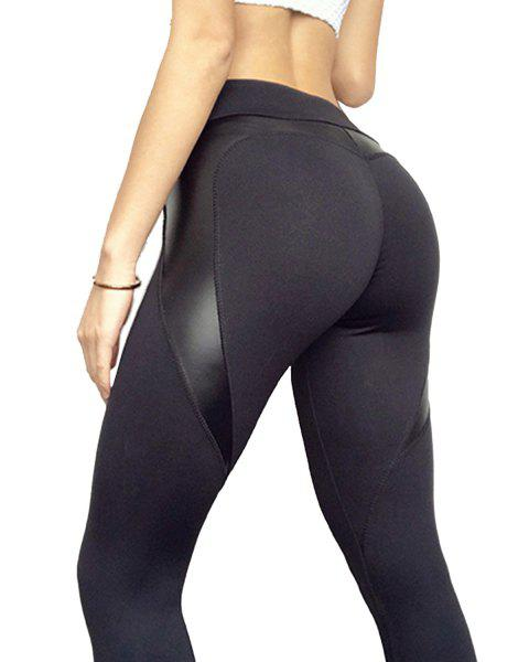 Woman Tight PU leather MeshSkinny Sports Leggings - BLACK L