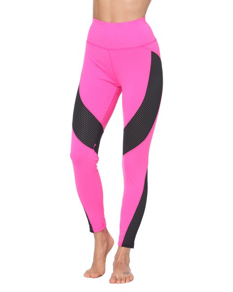 Tight Mesh Fishnet Patchwork Skinny Leggings Sports - PINK M