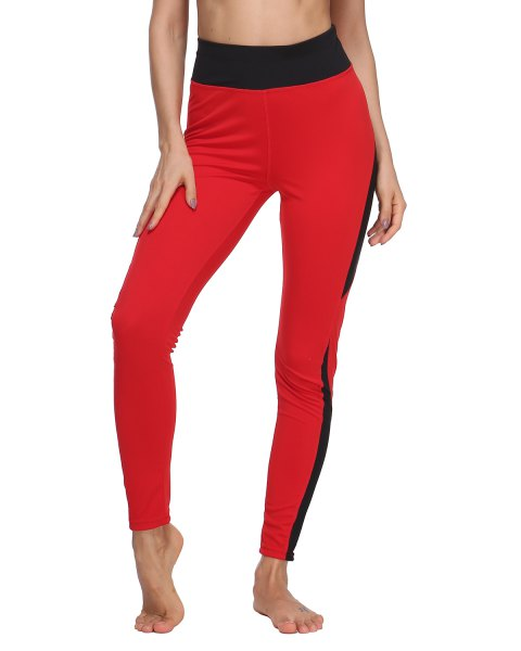 Woman Fashion  Tight Mesh Fishnet Patchwork Skinny Sports Leggings - RED L