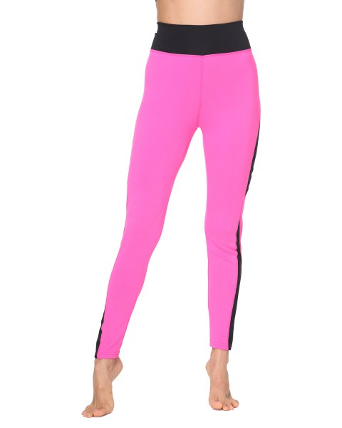 Woman Fashion  Tight Mesh Fishnet Patchwork Skinny Sports Leggings - HOT PINK L