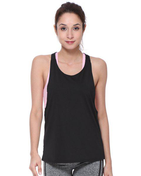 Sleeveless Quick-Dry Yoga Top Tank Vest - BLACK S