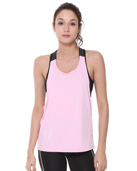Sleeveless Quick-Dry Yoga Top Tank Vest - PINK M