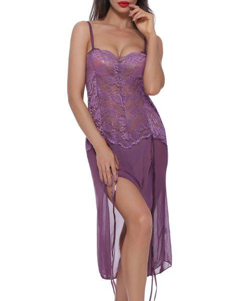BELLEZIVA Lace Sexy  Lingerie Halter For Women Two Piece Teddy Babydoll Badysuit - VIOLET XL