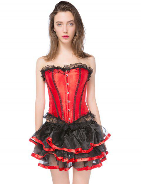 Gothic Halloween Lace up Corset Skirt - RED L