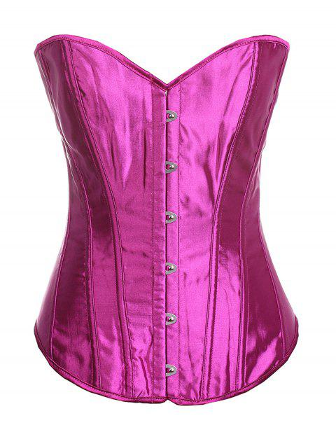 Women Boned Corset Sexy  Overbust Bustier Bodyshaper Top - ROSE RED S