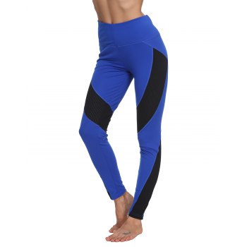 Woman Fashion Sports Tight Mesh Fishnet Patchwork Skinny Leggings Gym Pants for Yoga Running Workout Pants Sports Legging - ROYAL BLUE L