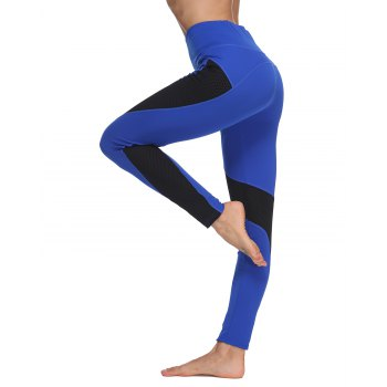 Woman Fashion Sports Tight Mesh Fishnet Patchwork Skinny Leggings Gym Pants for Yoga Running Workout Pants Sports Legging - ROYAL BLUE M