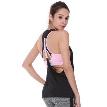 Sleeveless Quick-Dry Yoga Top Tank Vest - BLACK L