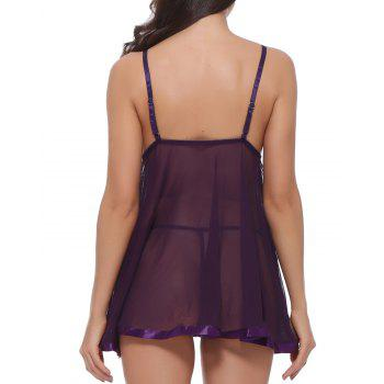 Women deep V-neck Sexy Floral Lace Teddy Lingerie Two Piece Babydoll Mesh Chemise Sleepwear - VIOLET XL