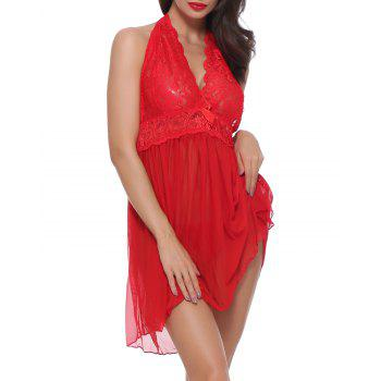 Lace Sexy  Lingerie Halter For Women Two Piece Teddy Babydoll Badysuit - RED 2XL