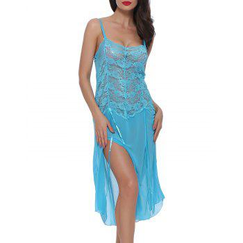 BELLEZIVA Lace Sexy  Lingerie Halter For Women Two Piece Teddy Babydoll Badysuit - BUTTERFLY BLUE S